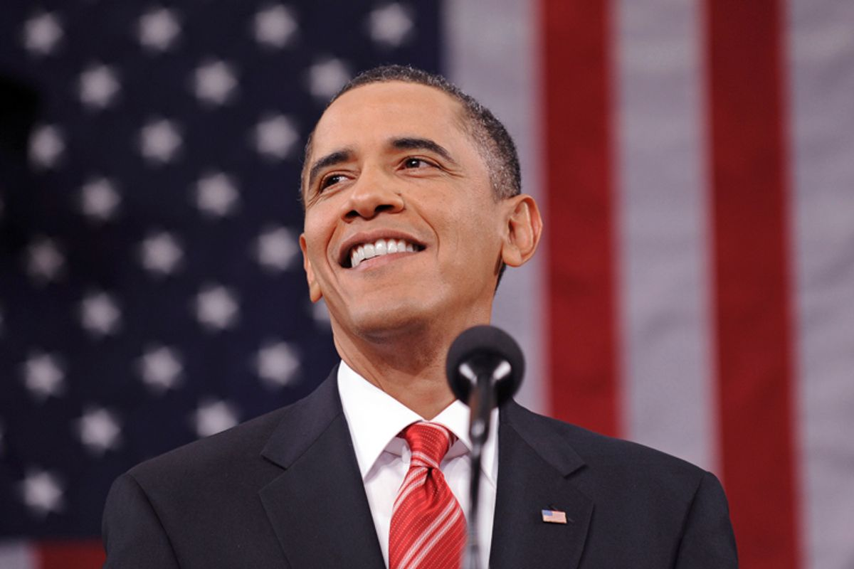 Barack Obama delivers his first State of the Union address on Capitol Hill in Washington on Wednesday.