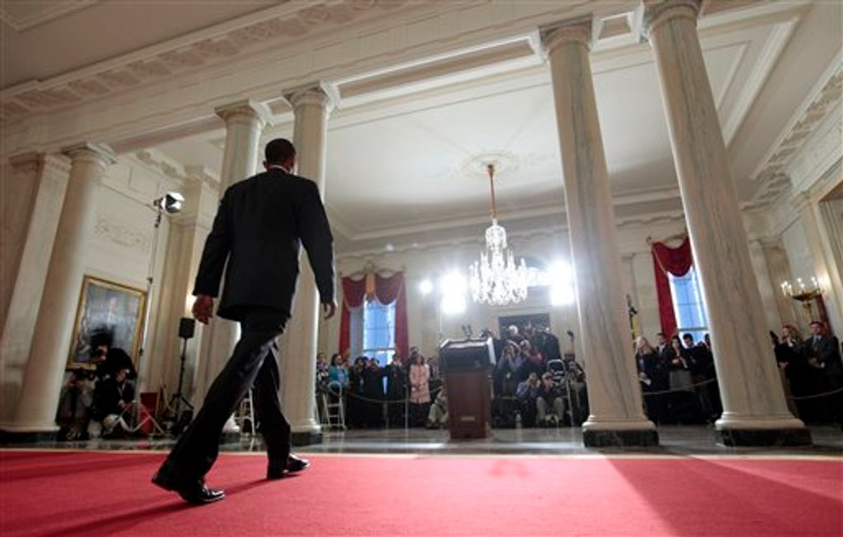 President Barack Obama walks towards the podium to speak about plans to thwart future terrorist attacks after an alleged terrorist attempt to destroy a Detroit-bound U.S. airliner on Christmas Day, Tuesday, Jan. 5, 2010, at the White House in Washington. (AP Photo/Charles Dharapak) (AP)