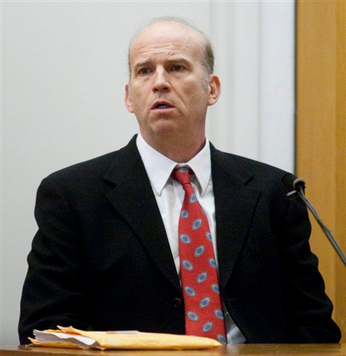 Scott Roeder, accused of murdering prominent Kansas abortion provider Dr. George Tiller,  testifies at his trial on Thursday Jan. 28, 2010 in Wichita, Kansas. Roeder testified  that he killed Tiller in the foyer of Tiller's Wichita church on May 31. The 51-year-old Roeder also said he believes abortion is murder. (AP Photo/Jeff Tuttle, Pool)  (AP)