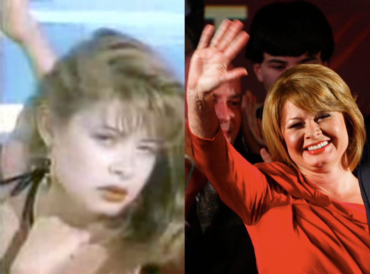 """Gail Huff in """"The Girl With the Curious Hand"""" video 1984 (L) and at husband Scott Brown's victory rally January 19, 2010."""