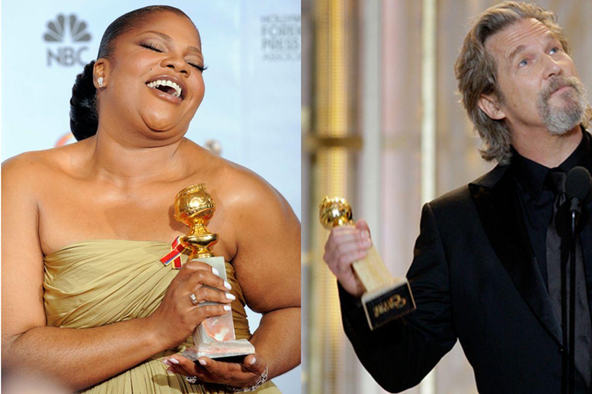 Mo'Nique and Jeff Bridges at Sunday night's Golden Globe awards