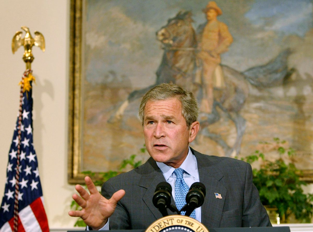 U.S. President George W. Bush speaks during an announcement that the U.S. military will not leave Iraq because of the influence of any hostile forces, while in the Roosevelt Room of the White House, July 2, 2003. As a new poll showed American confidence slipping over the U.S.-role in post-war Iraq, Bush vowed to defeat those attacking U.S. occupying forces. REUTERS/Larry Downing  LSD (Reuters)