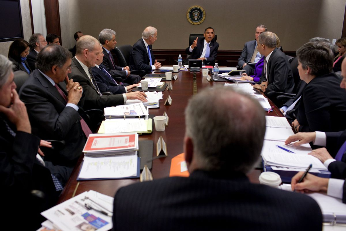 President Barack Obama meets with his national security team in the Situation Room of the White House Jan. 5, 2010, about the attempted Christmas Day terrorist act aboard an airliner. (Official White House Photo by Pete Souza)This official White House photograph is being made available only for publication by news organizations and/or for personal use printing by the subject(s) of the photograph. The photograph may not be manipulated in any way and may not be used in commercial or political materials, advertisements, emails, products, promotions that in any way suggests approval or endorsement of the President, the First Family, or the White House. (Pete Souza)