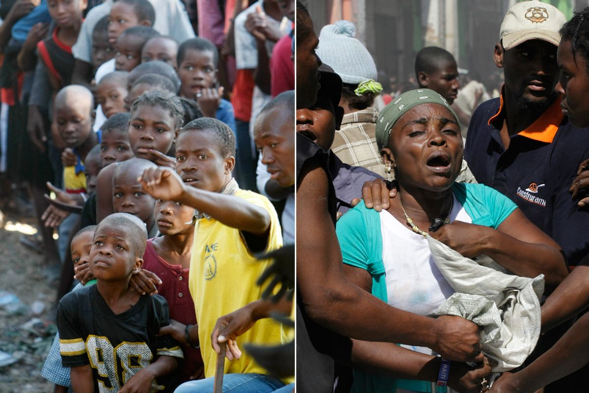 Left: Haitian children line up to receive food at a food distribution site. Right: A woman defends herself as others try to take a bag she carried out of a damaged building in Port-au-Prince on Thursday.