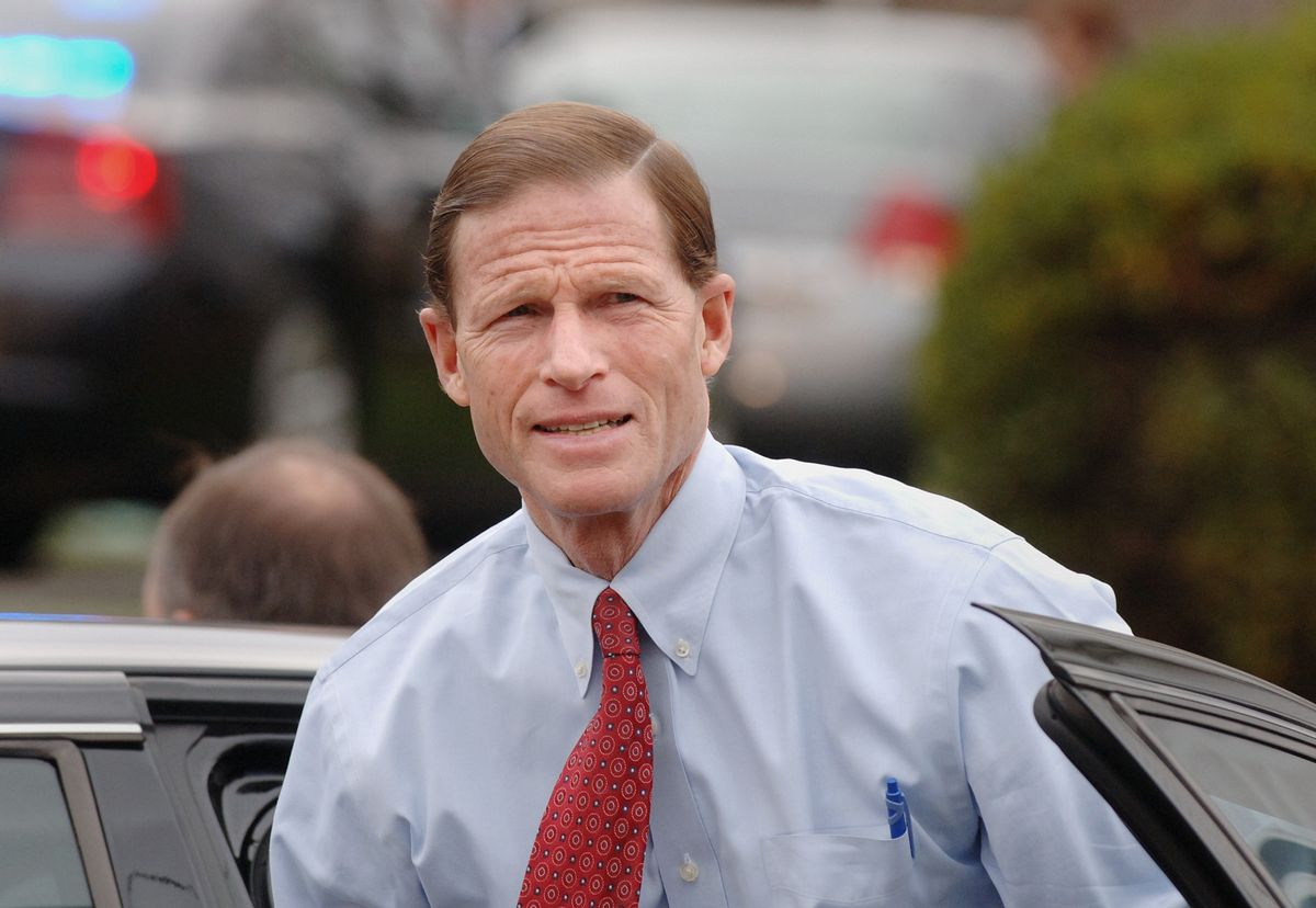 Connecticut Attorney General Richard Blumenthal arrives at the funeral of former Connecticut Gov. William O'Neill in East Hampton, Conn., on Thursday. Nov. 29, 2007.  O'Neill died Saturday, Nov. 24, 2007 at his home in East Hampton after a long struggle with complications from emphysema. (AP Photo/Fred Beckham) (Associated Press)