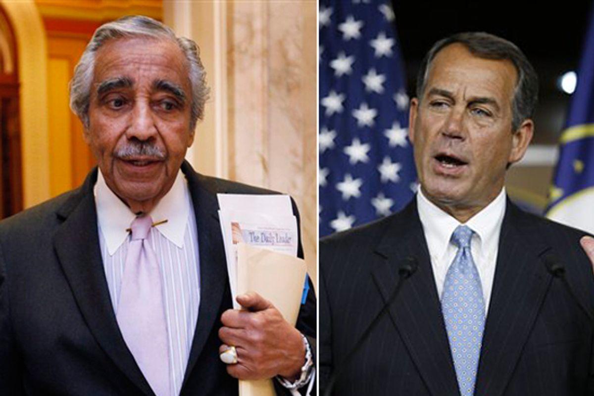 Rep. Charles Rangel, D-N.Y. and House Minority Leader John Boehner