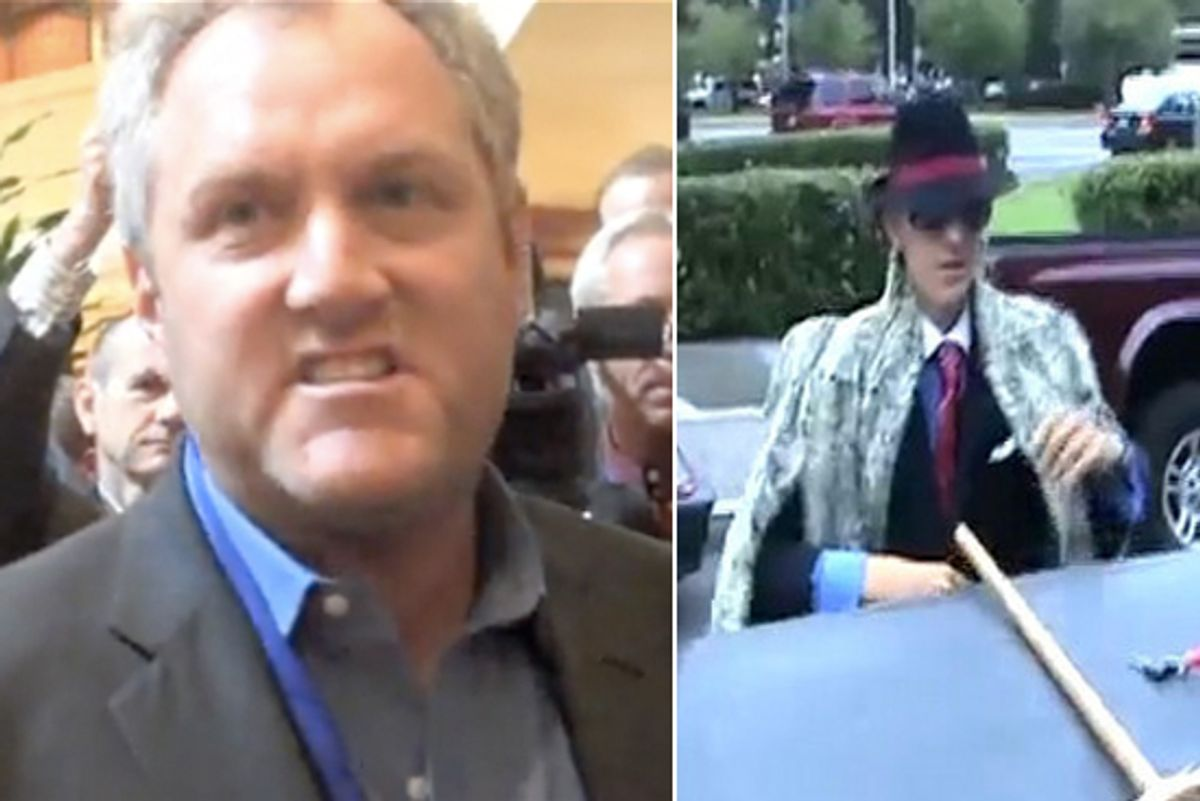 Left: Andrew Breitbart. Right: James O'Keefe