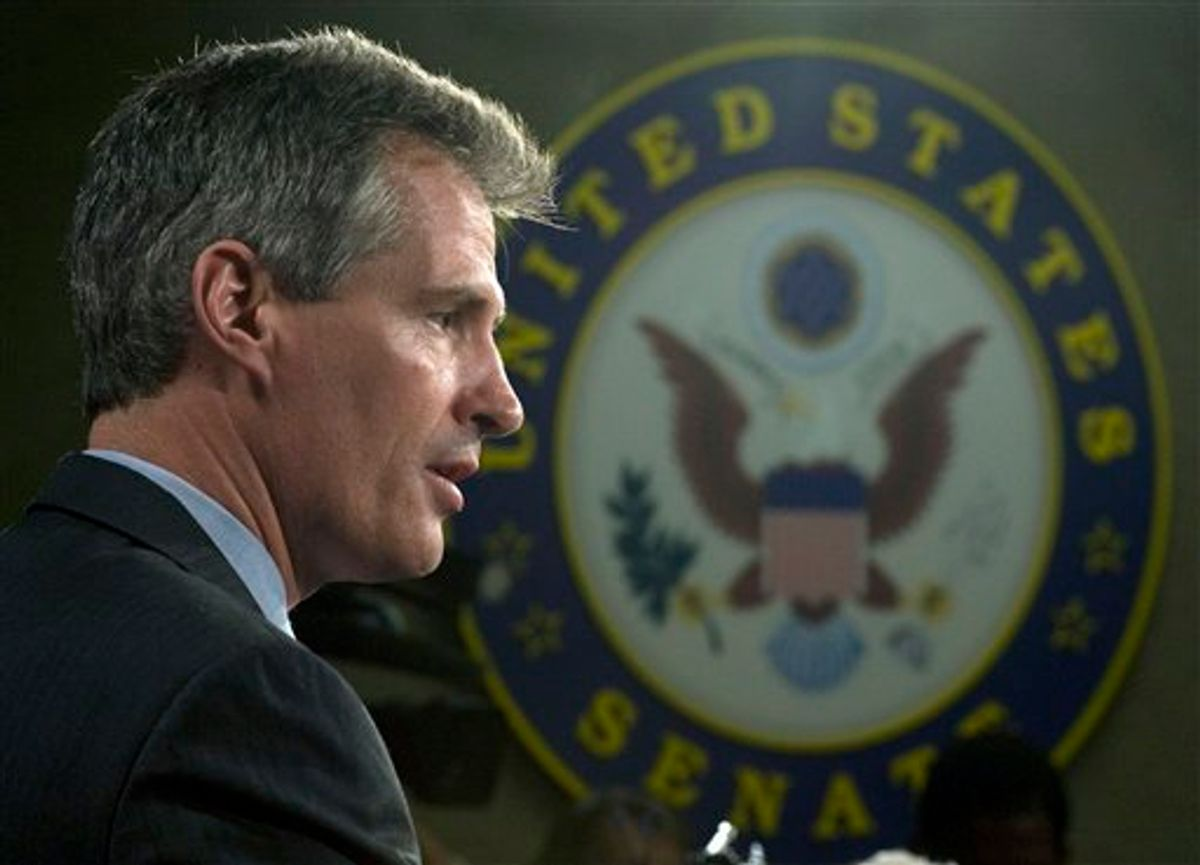 Senator Scott Brown, R-Mass. speaks with reporters on Capitol Hill in Washington, Thursday, Feb. 4, 2010, following his swearing in. (AP Photo/Cliff Owen) (AP)