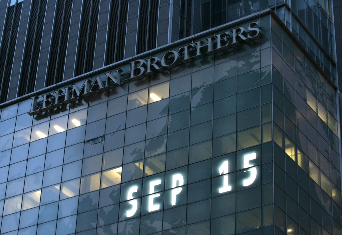 Lehman Brothers world headquarters is shown Monday, Sept. 15, 2008 in New York. Lehman Brothers, burdened by $60 billion in soured real-estate holdings, filed a Chapter 11 bankruptcy petition in U.S. Bankruptcy Court after attempts to rescue the 158-year-old firm failed. (AP Photo/Mark Lennihan) (Mark Lennihan)