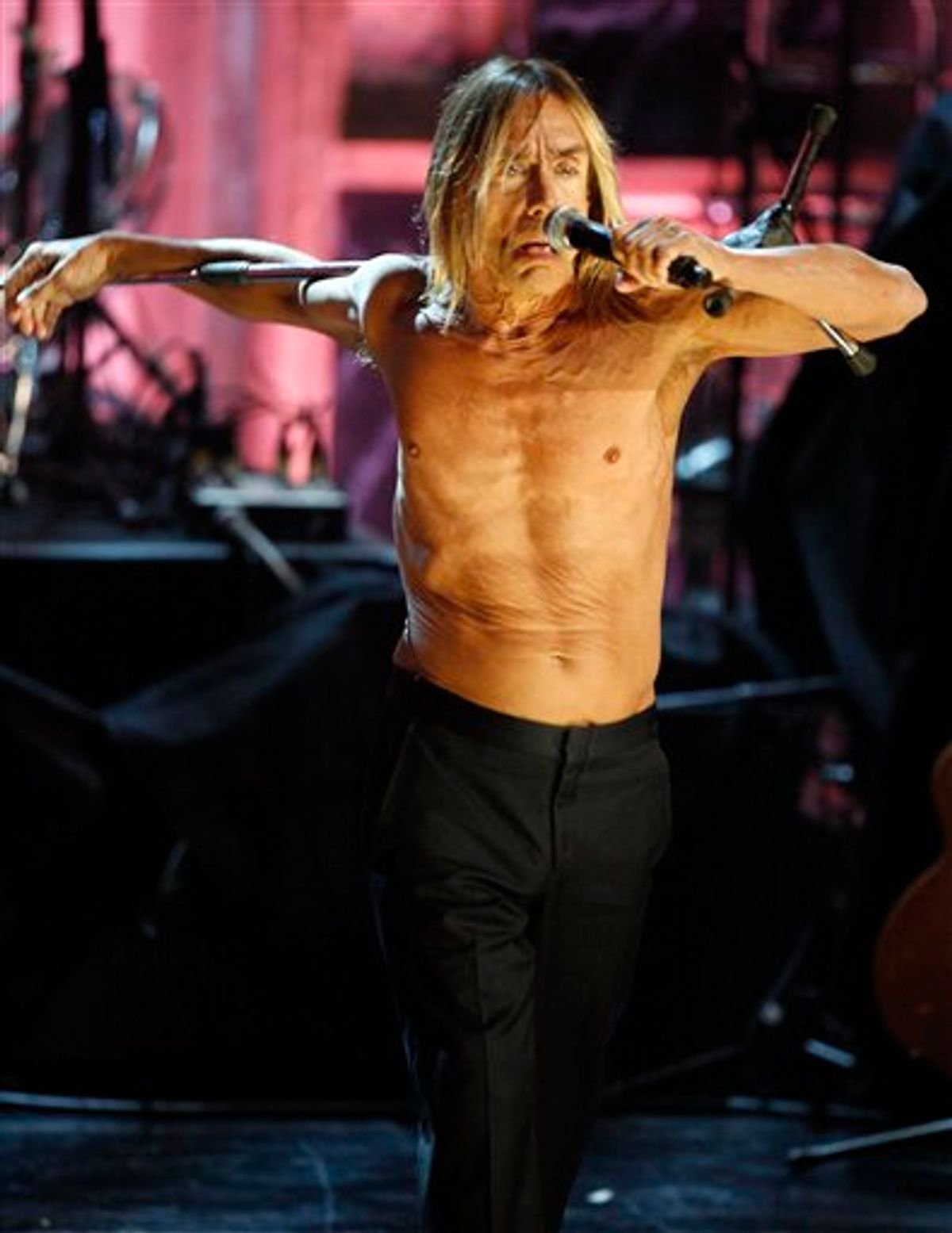 Iggy Pop performs during the Rock and Roll Hall of Fame induction ceremony in New York, Monday, March 15, 2010.  (AP Photo/Jason DeCrow) (AP)