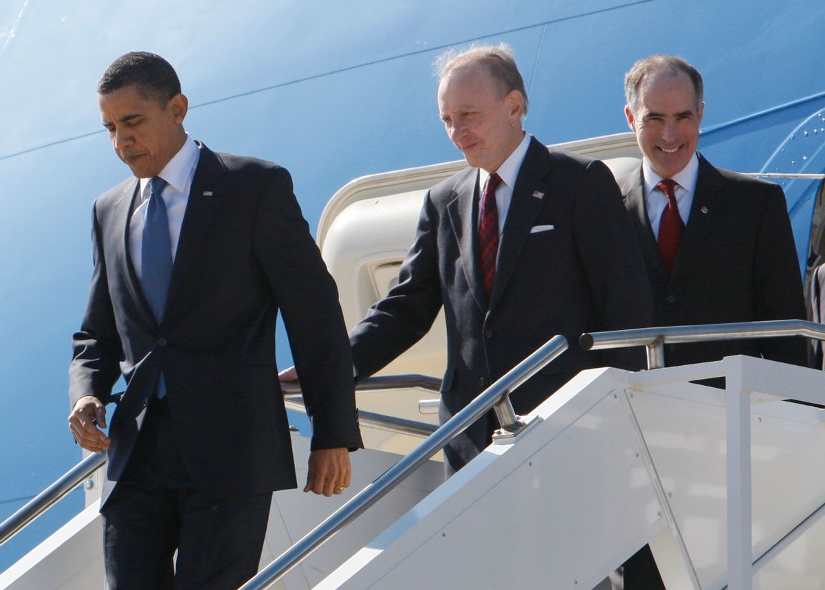 President Barack Obama, followed by Sen. Arlen Specter, D-Pa., center, and Sen. Bob Casey, D-Pa., arrives at Naval Air Station Joint Reserve Base in Willow Grove, Pa., Monday, March 8, 2010, en route to Glenside, Pa., to speak about health care reform. (AP Photo/Charles Dharapak) (Associated Press)