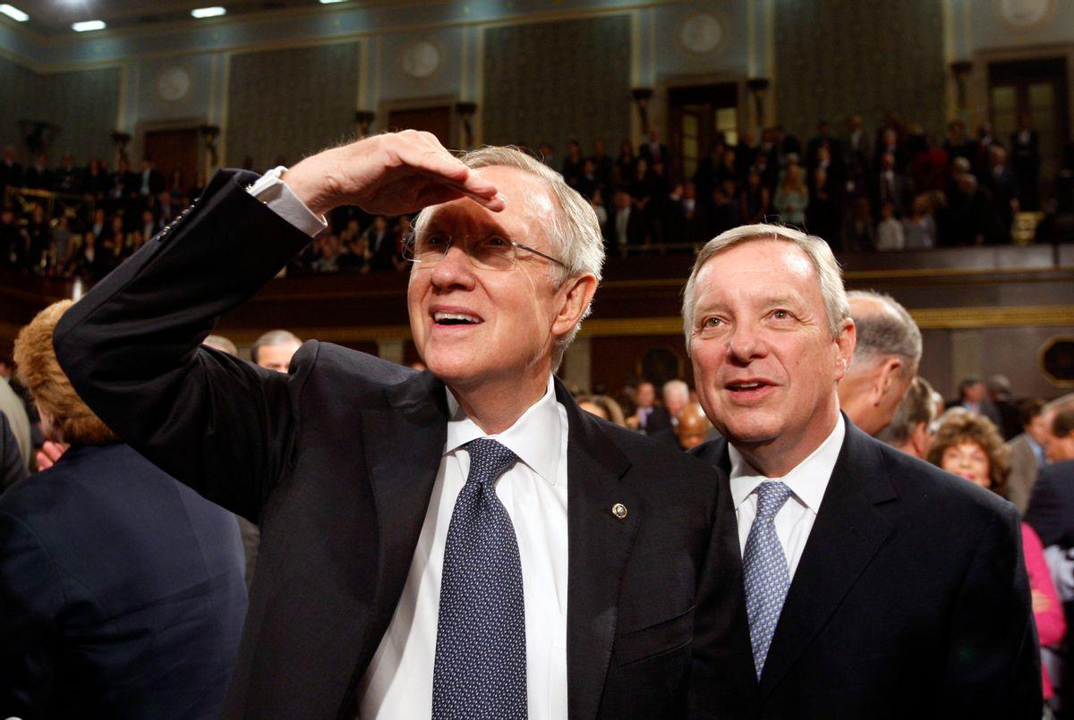 Majority Leader Harry Reid with Assistant Majority Leader Dick Durbin    (Reuters)