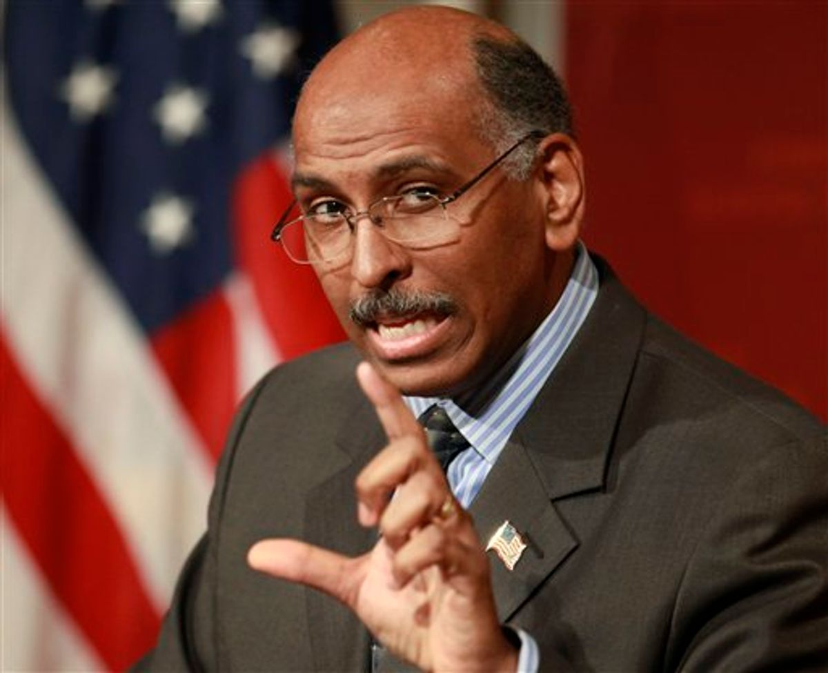FILE - In this Feb. 3, 2010 file photo Republican National Committee Chairman Michael Steele speaks at the John F. Kennedy School of Government on the campus of Harvard University, in Cambridge, Mass.  A federal court Friday denied a Republican Party bid to raise soft money, the unlimited donations from corporations and individuals banned by a 2002 campaign finance law. In a separate ruling, judges said a conservative group can raise unlimited sums for independent election ads but must regularly disclose its donors. (AP Photo/Steven Senne, File) (AP)