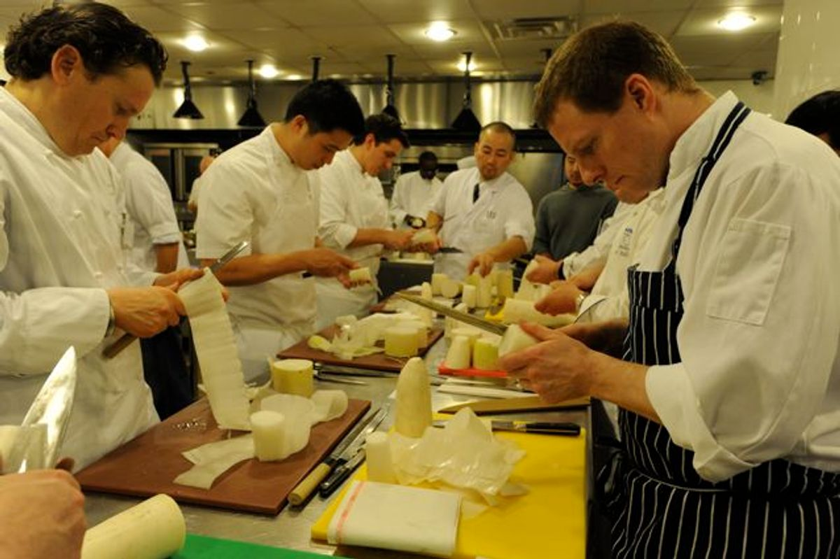 """Eddy Leroux (left) and other chefs """"unrolling"""" their daikons"""