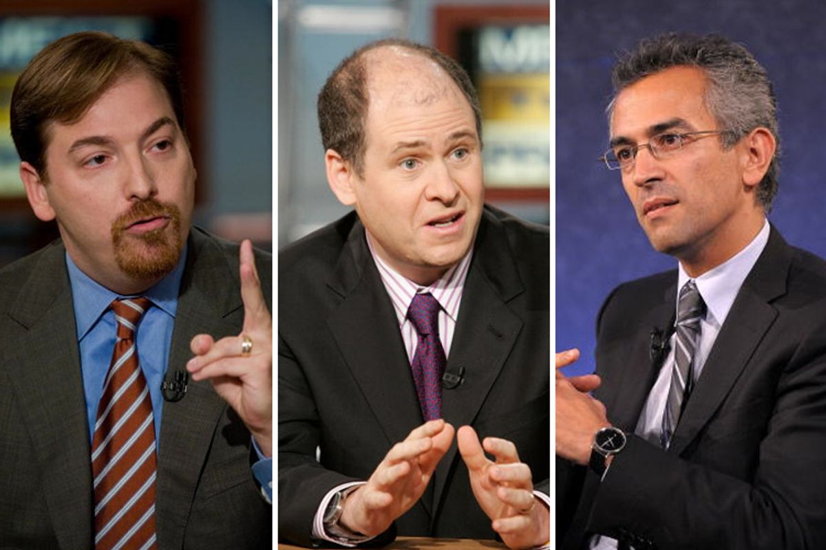 From left: Chuck Todd, Jonathan Alter and Richard Wolffe