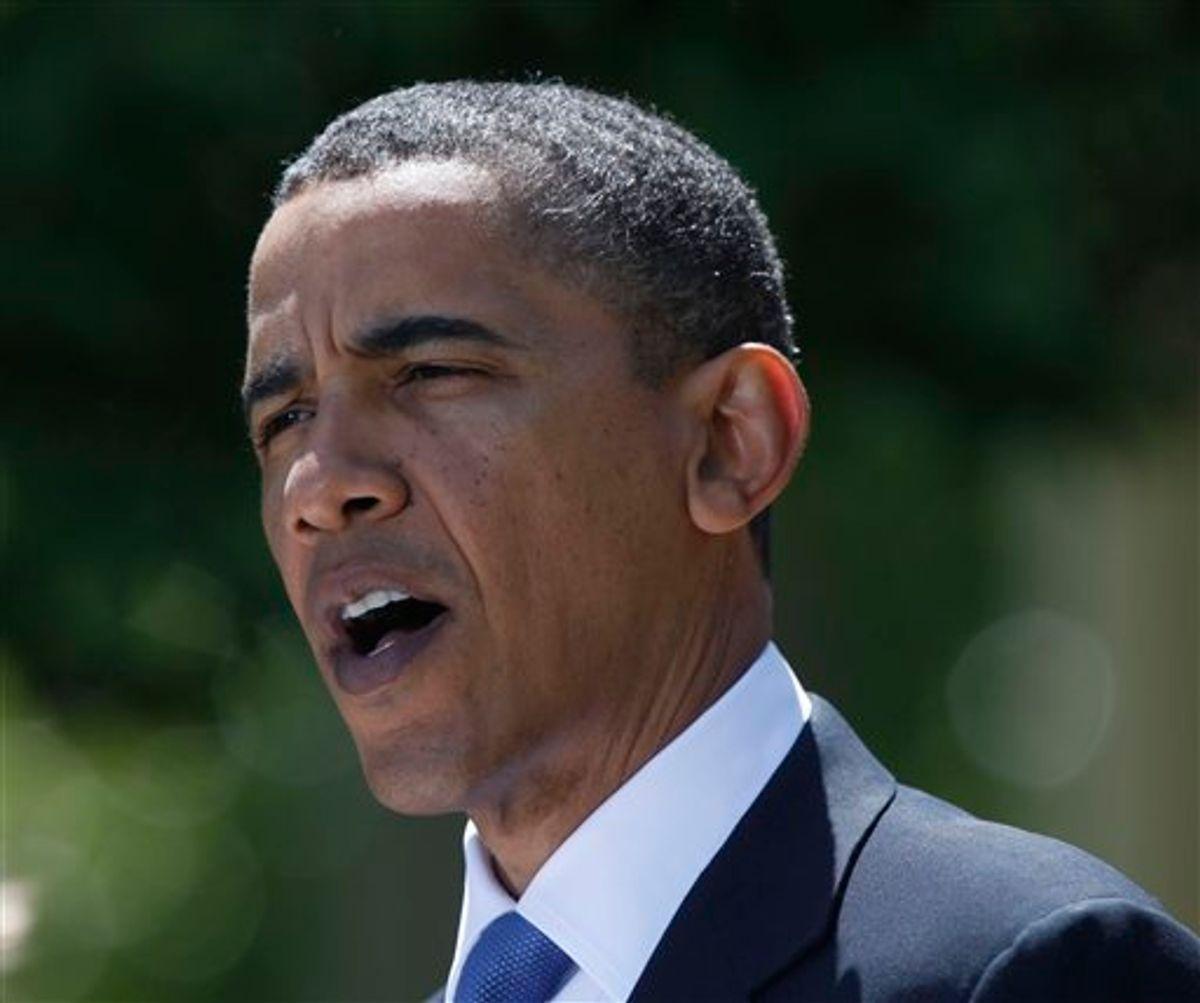 President Barack Obama talks about the Gulf of Mexico oil spill, Thursday, April 29, 2010, in the Rose Garden of the White House in Washington. (AP Photo/Pablo Martinez Monsivais) (AP)