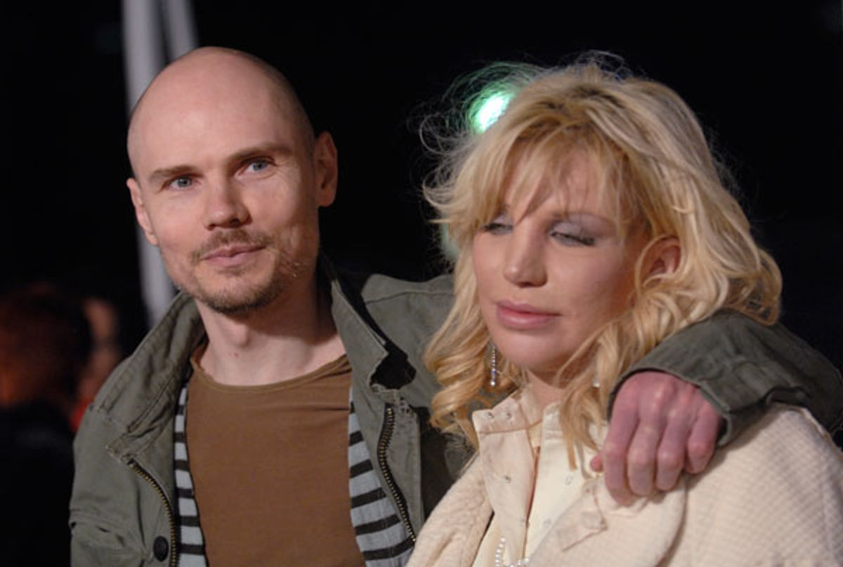 """Musicians Billy Corgan and Courtney Love attend the Los Angeles premiere of """"Freedom Writers"""" in January 2007."""