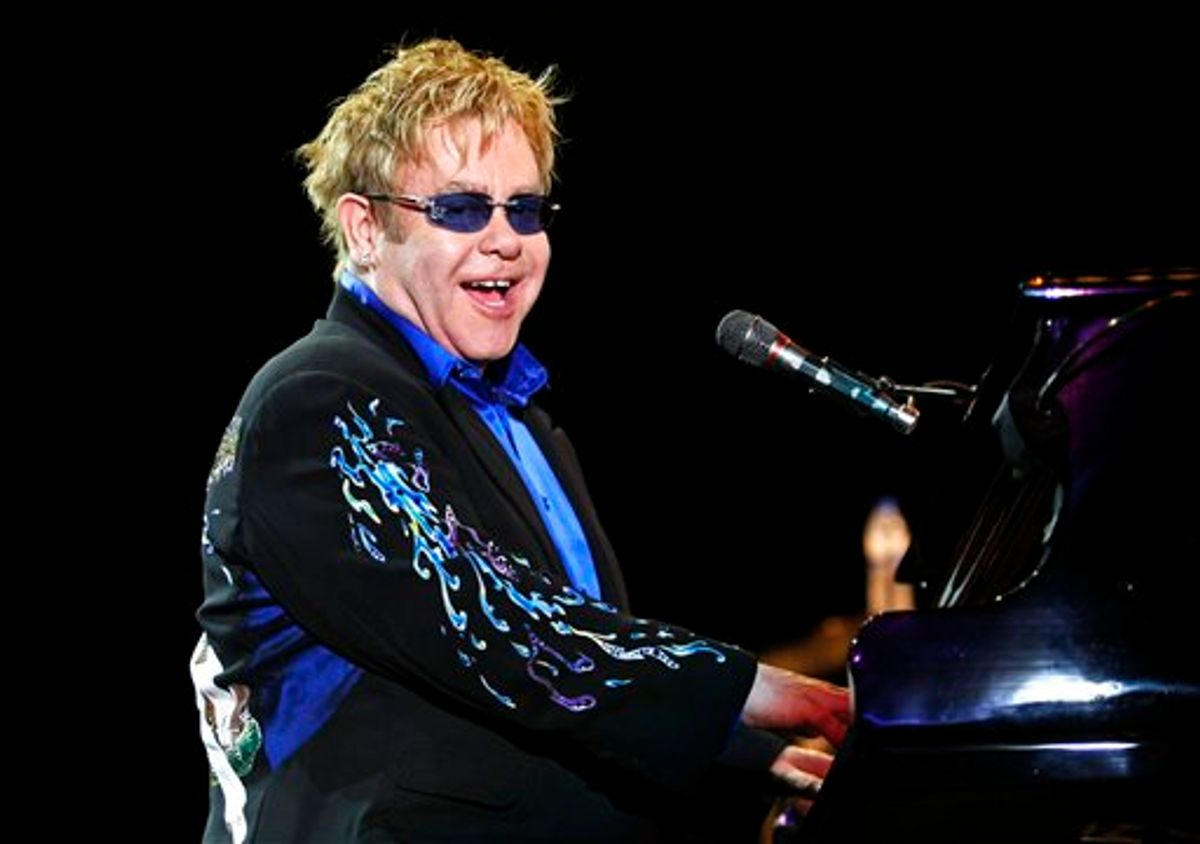 British singer and composer Elton John performs during the Rock in Rio music festival Saturday, May 22, 2010 in Lisbon, Portugal. (AP Photo/ Francisco Seco) **EDITORIAL USE ONLY, NO SALES** (AP)