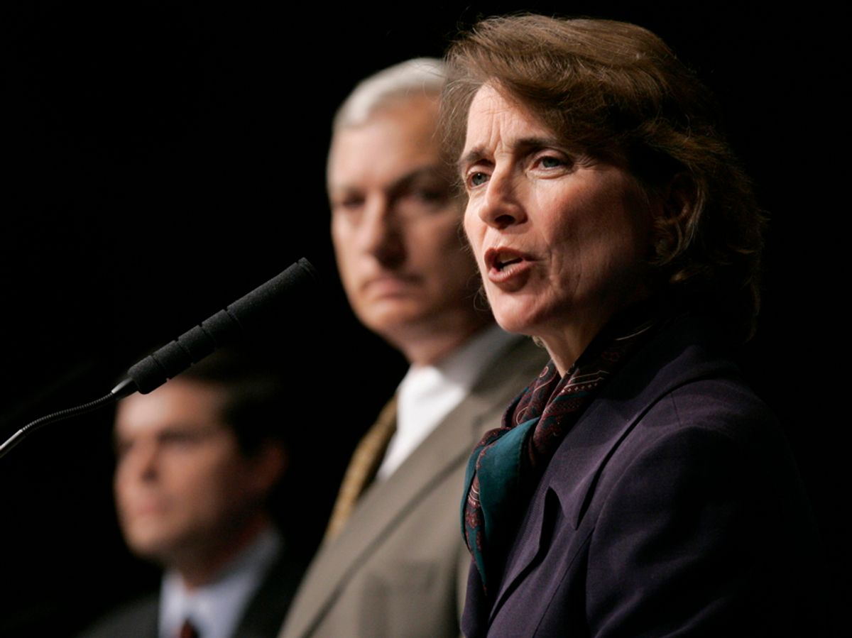 U.S. Sen. Blanche Lincoln, D-Ark., right, joins fellow Democrats Arkansas Lt. Gov. Bill Halter, left, and businessman D.c. Morrison as they participate in a debate in Little Rock, Ark., Friday, May 14, 2010, in the race for U.S. Senate. (AP Photo/Danny Johnston) (Danny Johnston)