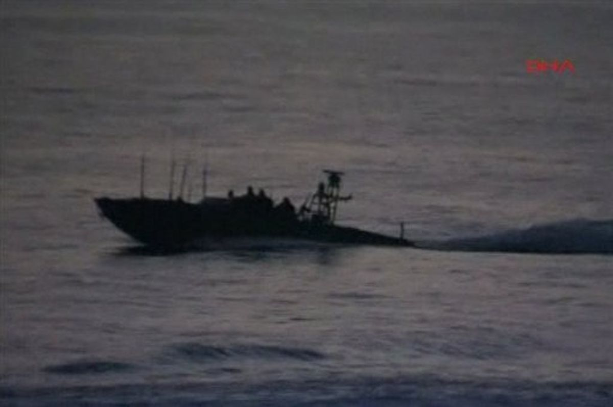 This video image released by the Turkish Aid group IHH Monday May 31, 2010 purports to show Israeli military vessel at sea in international waters off the Gaza coast near a ship convey carrying aid to Gaza. Israeli commandos on Monday stormed six ships carrying hundreds of pro-Palestinian activists on an aid mission to the blockaded Gaza Strip, killing at least 10 people and wounding dozens after encountering unexpected resistance as the forces boarded the vessels.   AP Photo/IHH via APTN) ** TURKEY OUT ** (AP)