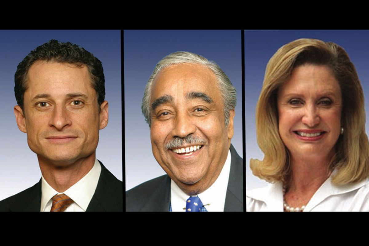 From left, Anthony Weiner, Charlie Rangel, Carolyn Maloney