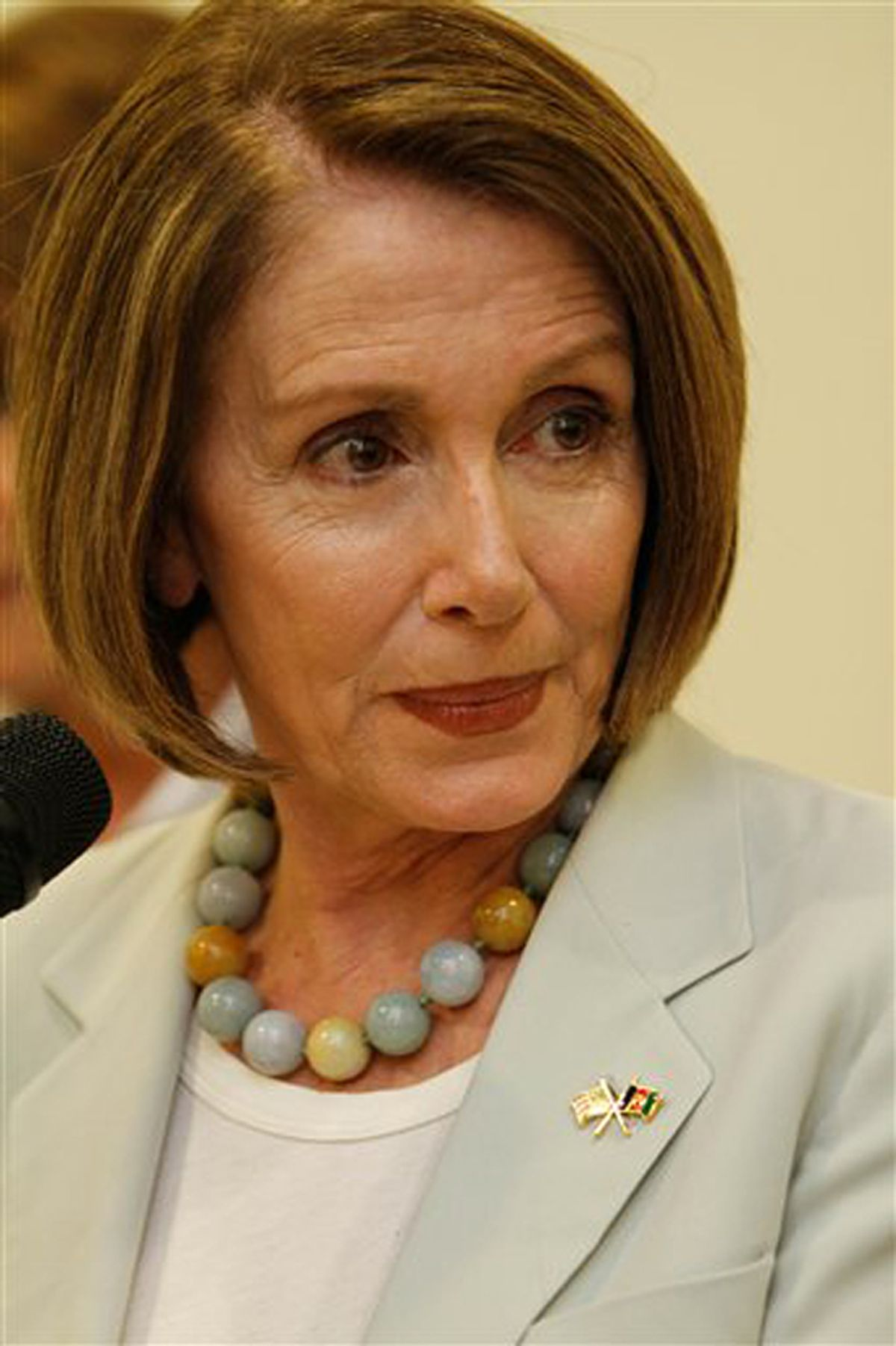 Speaker of the US House of Representatives Nancy Pelosi (D-CA), speaks during a press conference in Kabul. Afghanistan, Sunday, May 9, 2010. She is visiting Afghanistan with colleagues Reps. Susan Davis, D-Calif.; Niki Tsongas, D-Mass.; Donna Edwards, D-Md., and Madeline Bordallo, D-Guam. They were to meet with Afghan women who counsel victims of sexual assault, female Marines who engage with Afghan civilians in the field and Afghan women who have received vocational training. (AP Photo/Dar Yasin) (Dar Yasin)