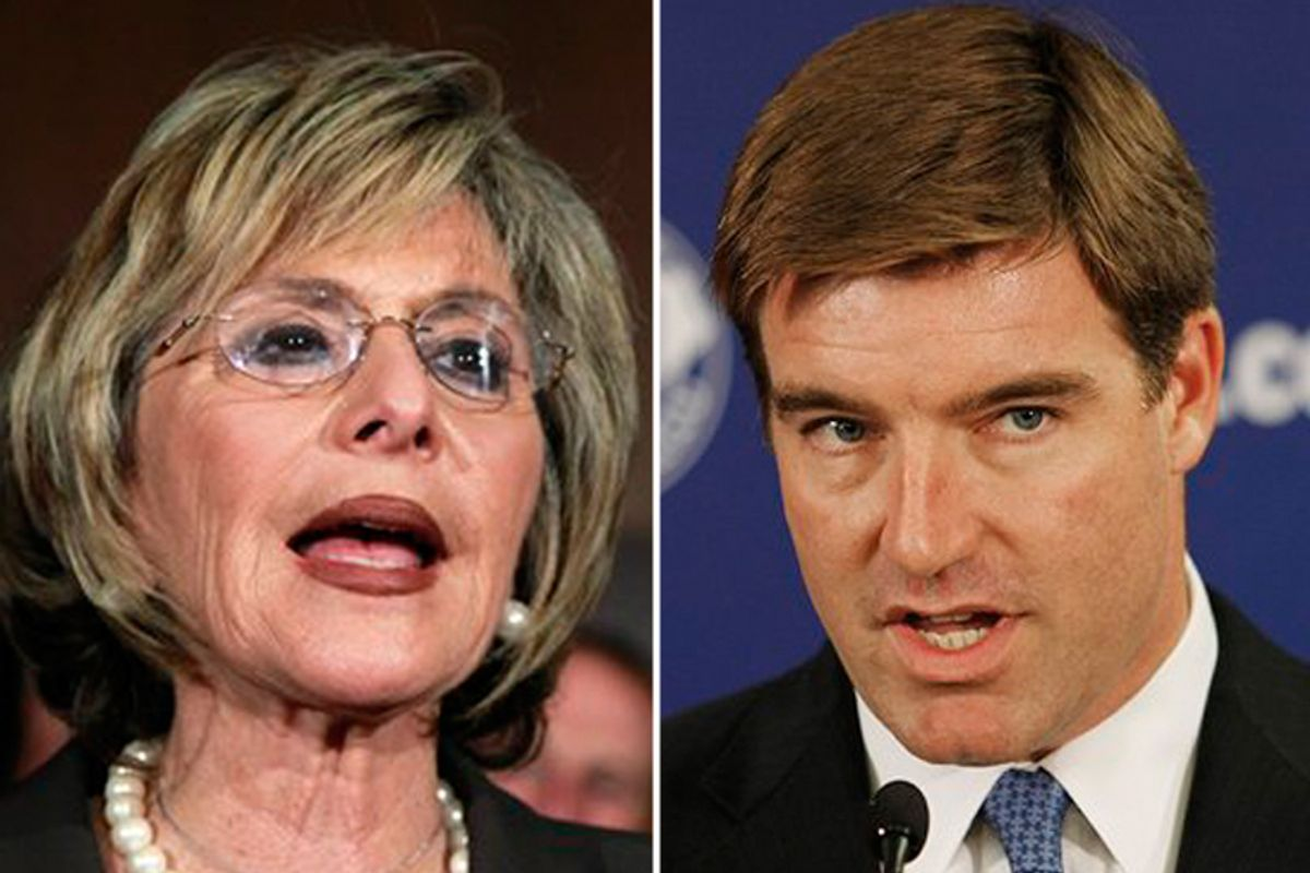 Sen. Barbara Boxer (D-Calif.) and Kentucky Senate candidate Jack Conway.