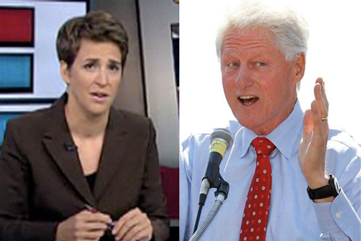 Rachel Maddow and former president Bill Clinton