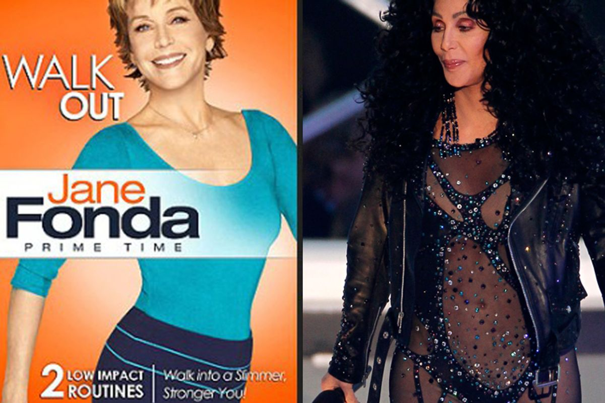 Jane Fonda's new workout tape (left) and Cher's appearance at the MTV Video Music Awards.