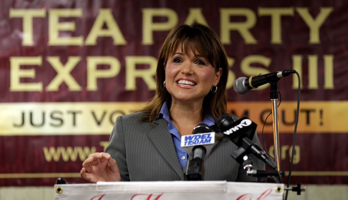 Tea Party Express news conference in support of Christine O'Donnell's bid for U.S. Senate, Tuesday, Sept. 7, 2010, in Wilmington, Del. (AP Photo/Rob Carr) (Rob Carr)
