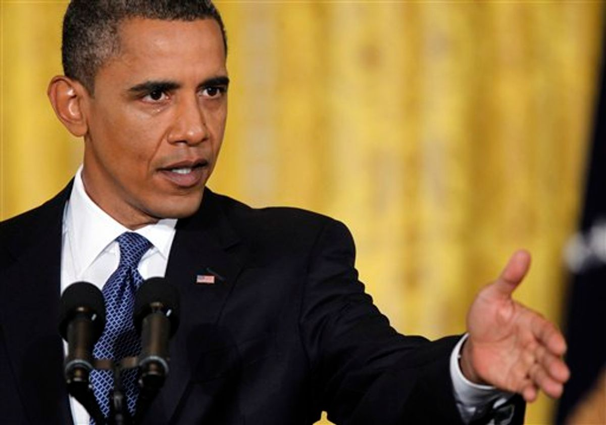 President Barack Obama gestures during a news conference in the East Room of the White House, Friday, Sept., 10, 2010. (AP Photo/Pablo Martinez Monsivais) (AP)