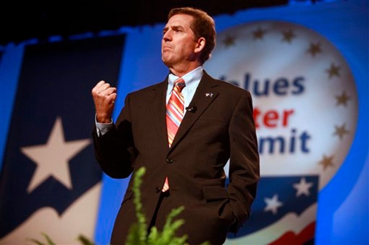 Sen. Jim DeMint, R-S.C., speaks to the Values Voter Summit, held by the Family Research Council Action, Friday, Sept. 17, 2010, in Washington. (AP Photo/Jacquelyn Martin) (AP)
