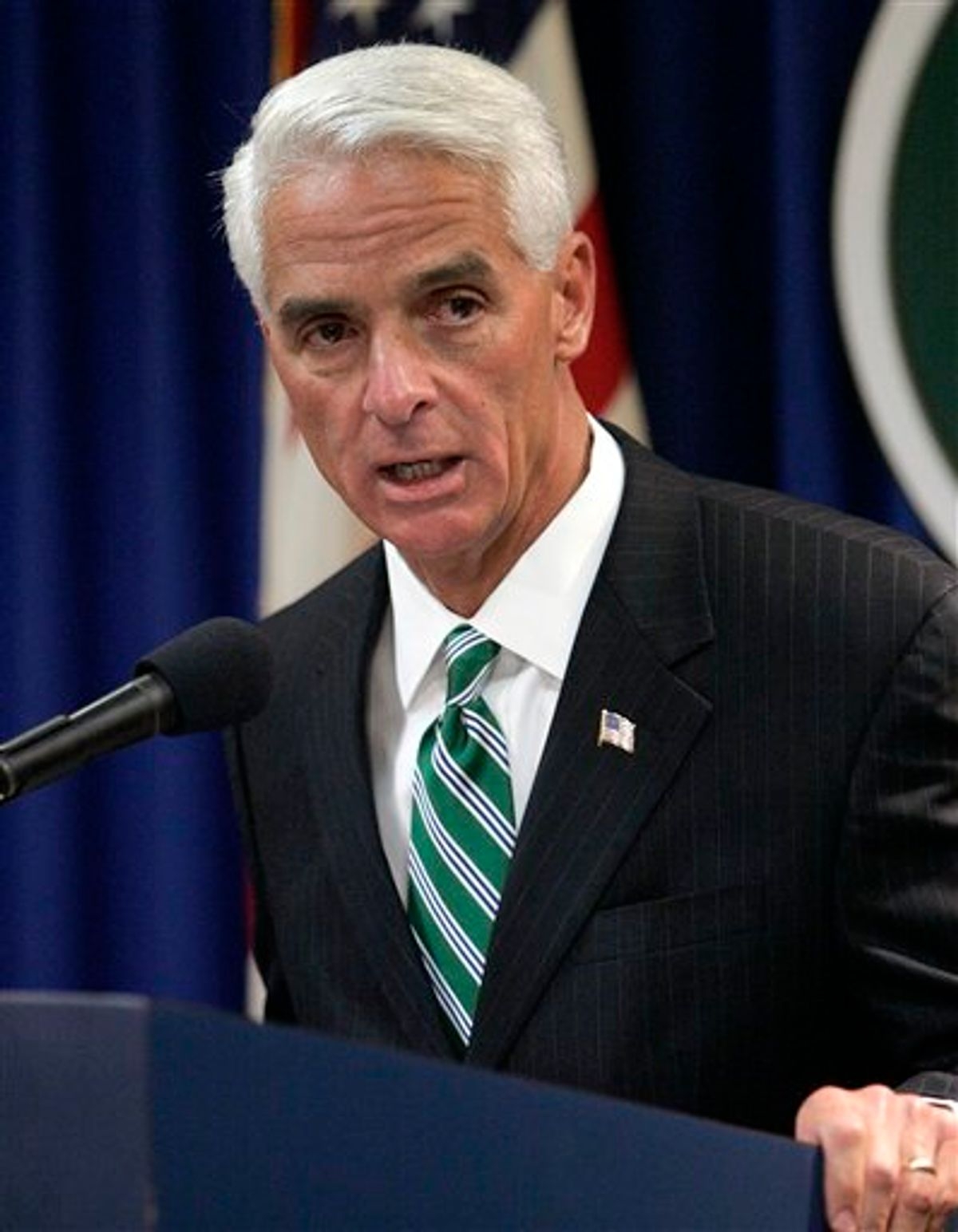 FILE - In this April 15, 2010 file photo, Gov. Charlie Crist speaks in Tallahassee, Fla. Plan A isn't working so well for Gov. Charlie Crist, a former rising Republican star who now trails badly in the Florida Senate primary, but Plans B, C and D don't look much better. His populist approach to governing no longer sits well with angry conservatives who have abandoned him in favor of his primary opponent, former state House speaker Marco Rubio.  (AP Photo/Steve Cannon) (AP)