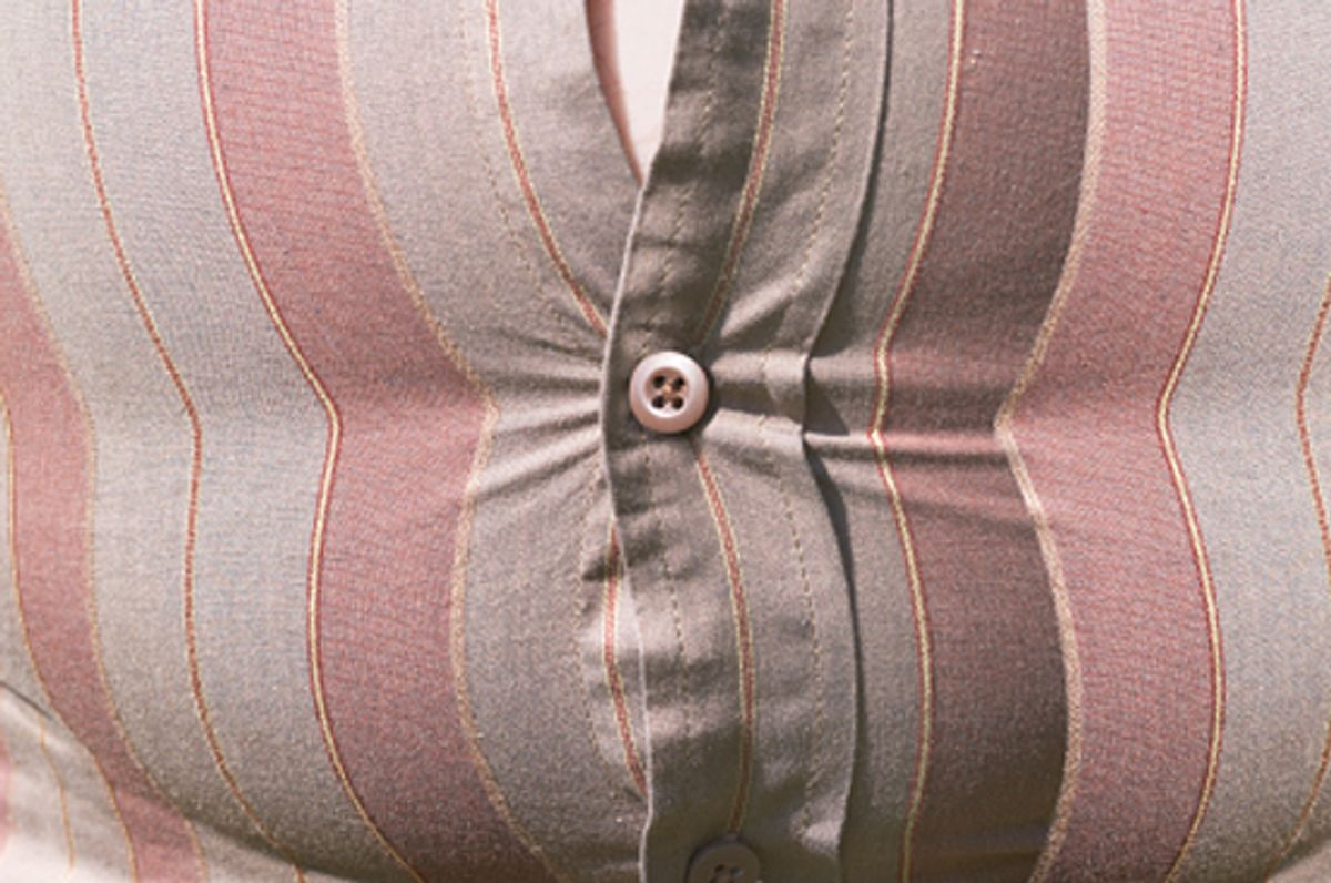 Fastened shirt over a fat stomach (Anthony Boulton)
