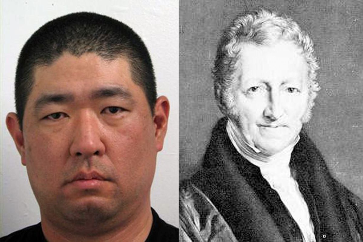 James J. Lee in a 2008 booking photo and Thomas Malthus