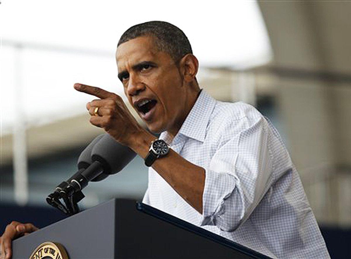 President Barack Obama speaks on the economy at the Milwaukee Laborfest in Milwaukee, Monday, Sept. 6, 2010. (AP Photo/Pablo Martinez Monsivais) (Pablo Martinez Monsivais)
