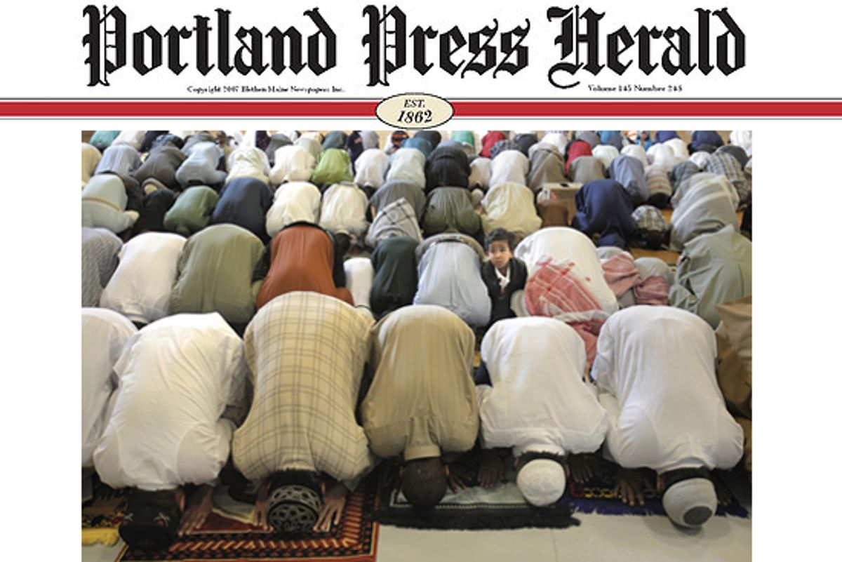 One of the photographs published by the Portland Press Herald on Sept. 11, 2010