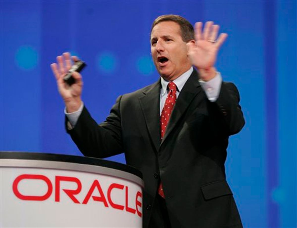 FILE - In this Oct. 24, 2006 file photo shows then, Hewlett Packard CEO Mark Hurd gestures during a keynote address at the Oracle Open World conference in San Francisco. Oracle Corp. has hired former Hewlett-Packard Co. CEO Mark Hurd to help lead the database software maker in a pivotal moment in Oracle's 33-year history as it tries to muscle in on more of HP's turf Monday, Sept. 6, 2010.(AP Photo/Paul Sakuma, file) (AP)