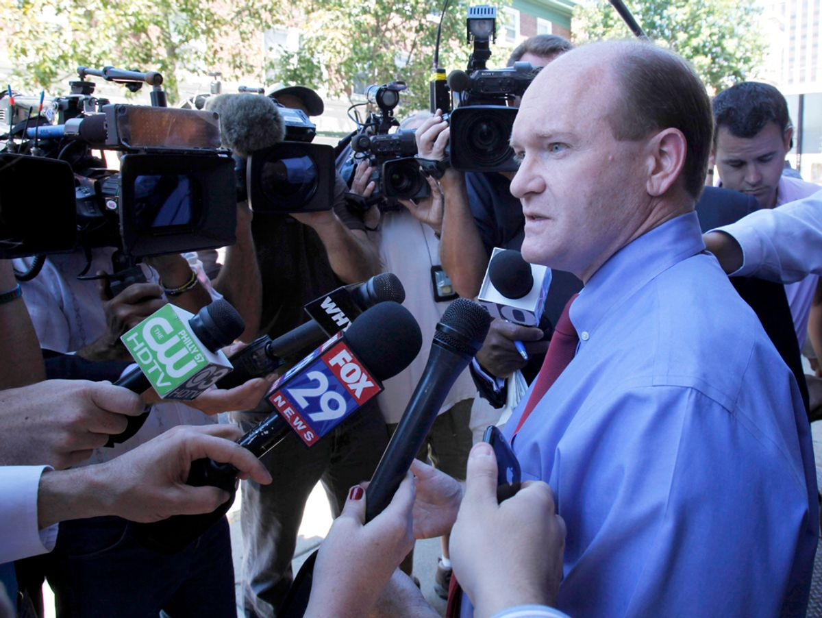 Delaware Democratic Senate candidate Chris Coons talks with reporters after a visit to Libby's Restaurant, Wednesday, Sept. 15, 2010, in Wilmington, Del. Coons will face Republican Christine O'Donnell in the November election. (AP Photo/Rob Carr)  (Rob Carr)