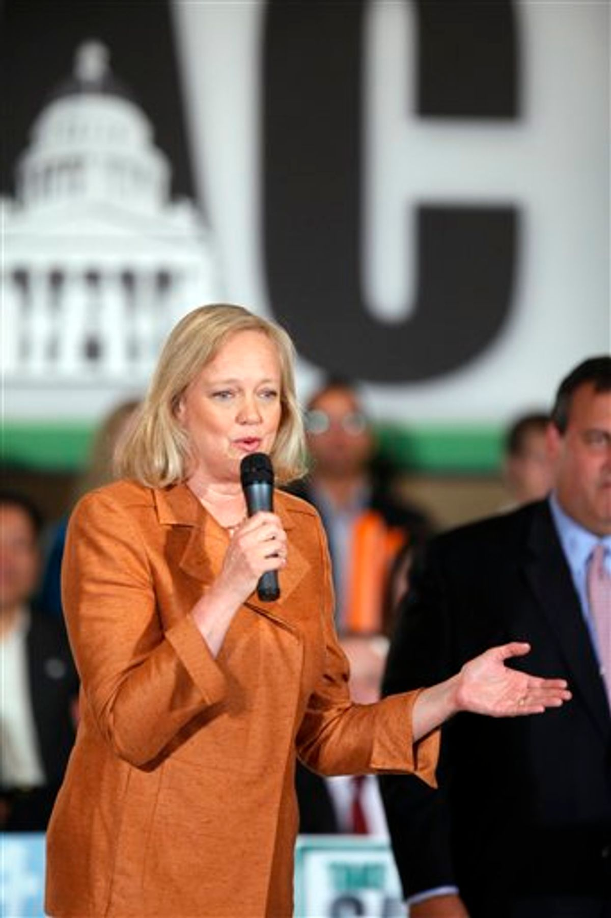 Meg Whitman, Republican nominee for Governor, holds a campaign event with New Jersey Governor Chris Christie, right, on Wednesday, Sept. 22, 2010, in Los Angeles. (AP Photo/Damian Dovarganes)    (AP)