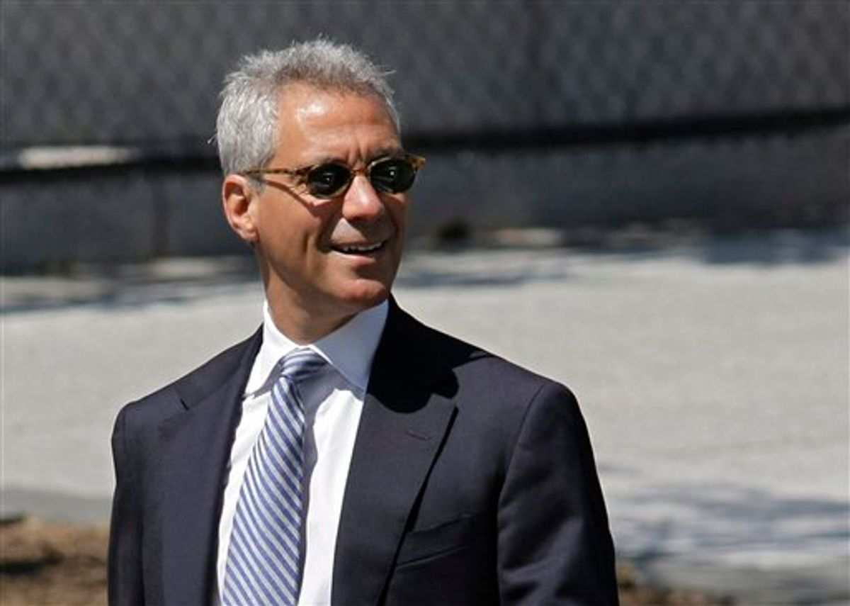 """In this April 11, 2010 photo, White House Chief of Staff Rahm Emanuel walks along a driveway at the White House in Washington. Emanuel says """"it's no secret"""" he'd like to run for mayor of Chicago someday. Emanuel made the remark during an interview on Charlie Rose's PBS talk show, which aired Monday April 19, 2010. (AP Photo/J. Scott Applewhite) (AP)"""