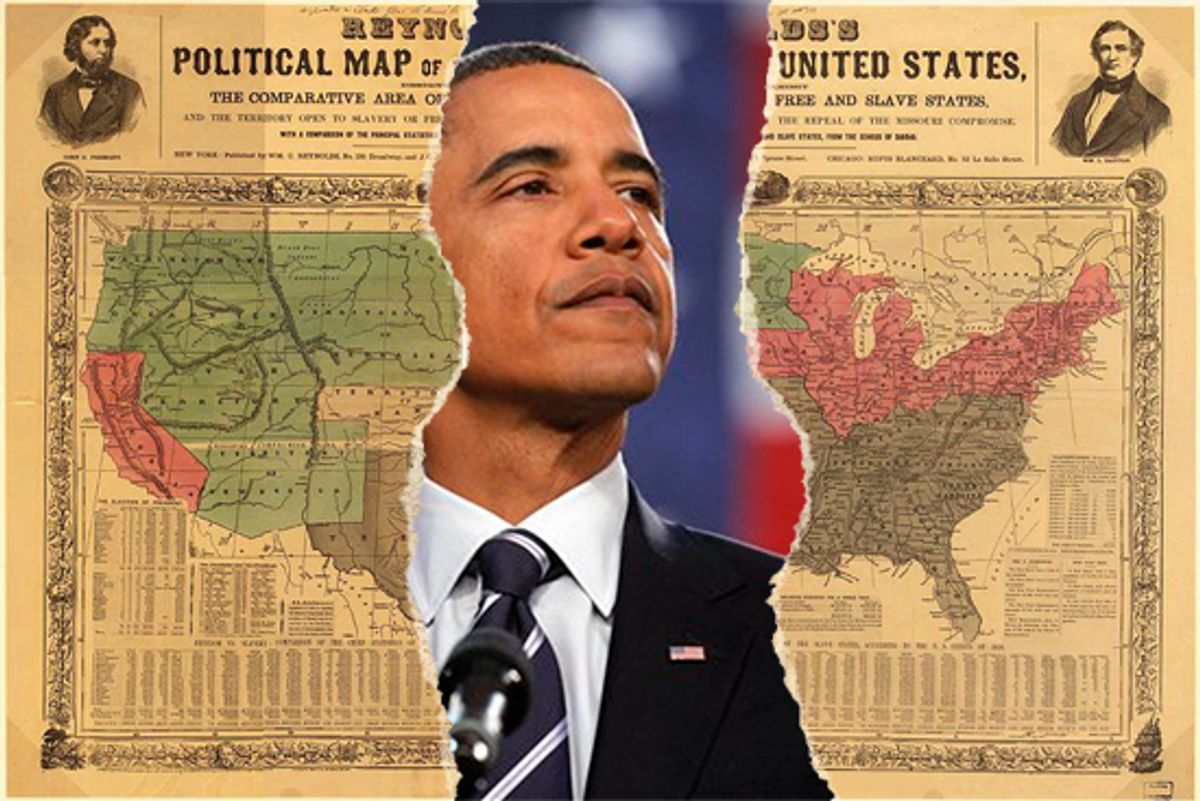 President Barack Obama and the 1856 Reynolds Political Map of the United States