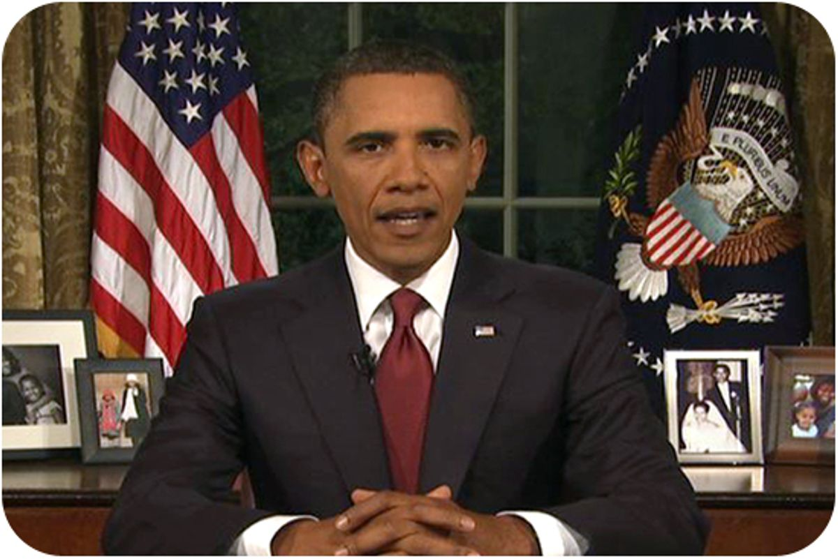 In this image from video, President Barack Obama speaks from the Oval Office at the White House on Tuesday, Aug. 31, 2010, about the end of the U.S. combat role in Iraq.
