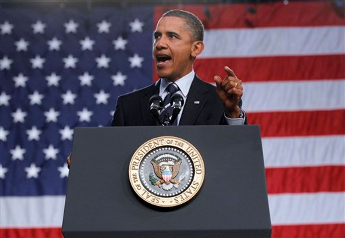 President Barack Obama delivers remarks on the economy,Wednesday, Sept. 8, 2010,  at Cuyahoga Community College West Campus in Parma, Ohio. (AP Photo/Pablo Martinez Monsivais) (AP)