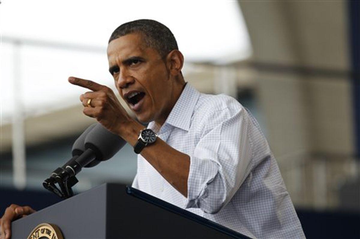 President Barack Obama speaks on the economy at the Milwaukee Laborfest in Milwaukee, Monday, Sept. 6, 2010. (AP Photo/Pablo Martinez Monsivais) (AP)
