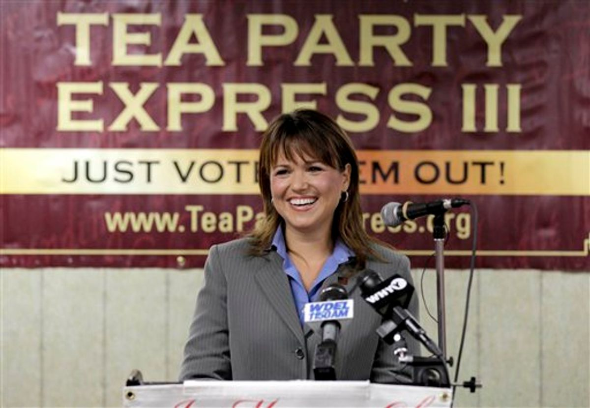 Delaware Republican Senate candidate Christine O'Donnell, addresses supporters during a Tea Party Express news conference in support of her election bid, in Wilmington, Del., in this photo taken Tuesday, Sept. 7, 2010. O'Donnell line kicks with her tea party backers, who hope this display of irrational exuberance translates into votes in Tuesday, Senate primary. She faces the full force of the Republican establishment in her bid to seize the nomination from Rep. Mike Castle, R-Del. (AP Photo/Rob Carr) (AP)