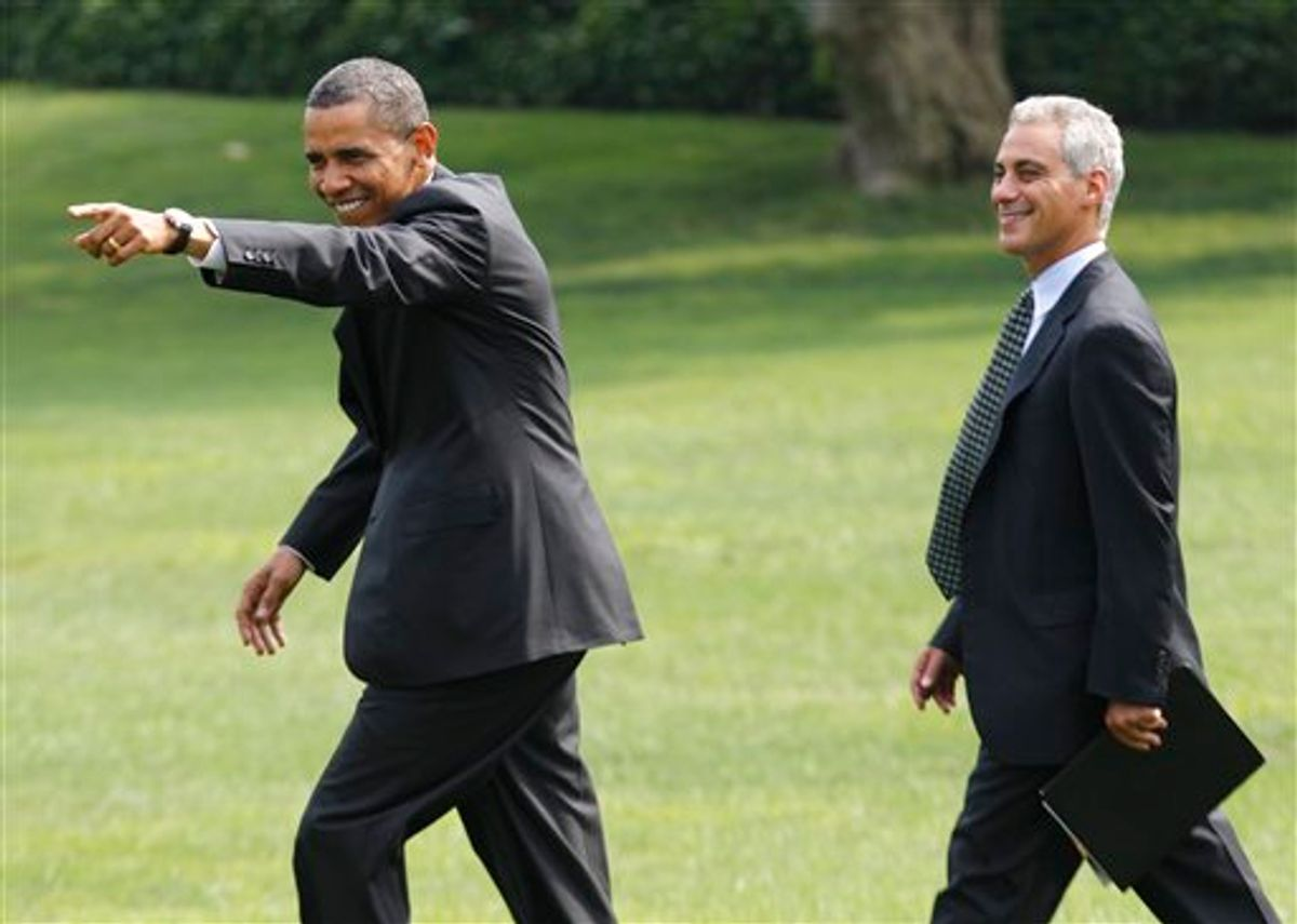 """President Barack Obama points to visitors singing """"Happy Birthday"""" to him as he walks with White House chief of staff Rahm Emanuel towards Marine One helicopter on the South Lawn of the White House in Washington, Wednesday, Aug. 4, 2010, prior to traveling to Chicago. (AP Photo/Charles Dharapak)   (AP)"""