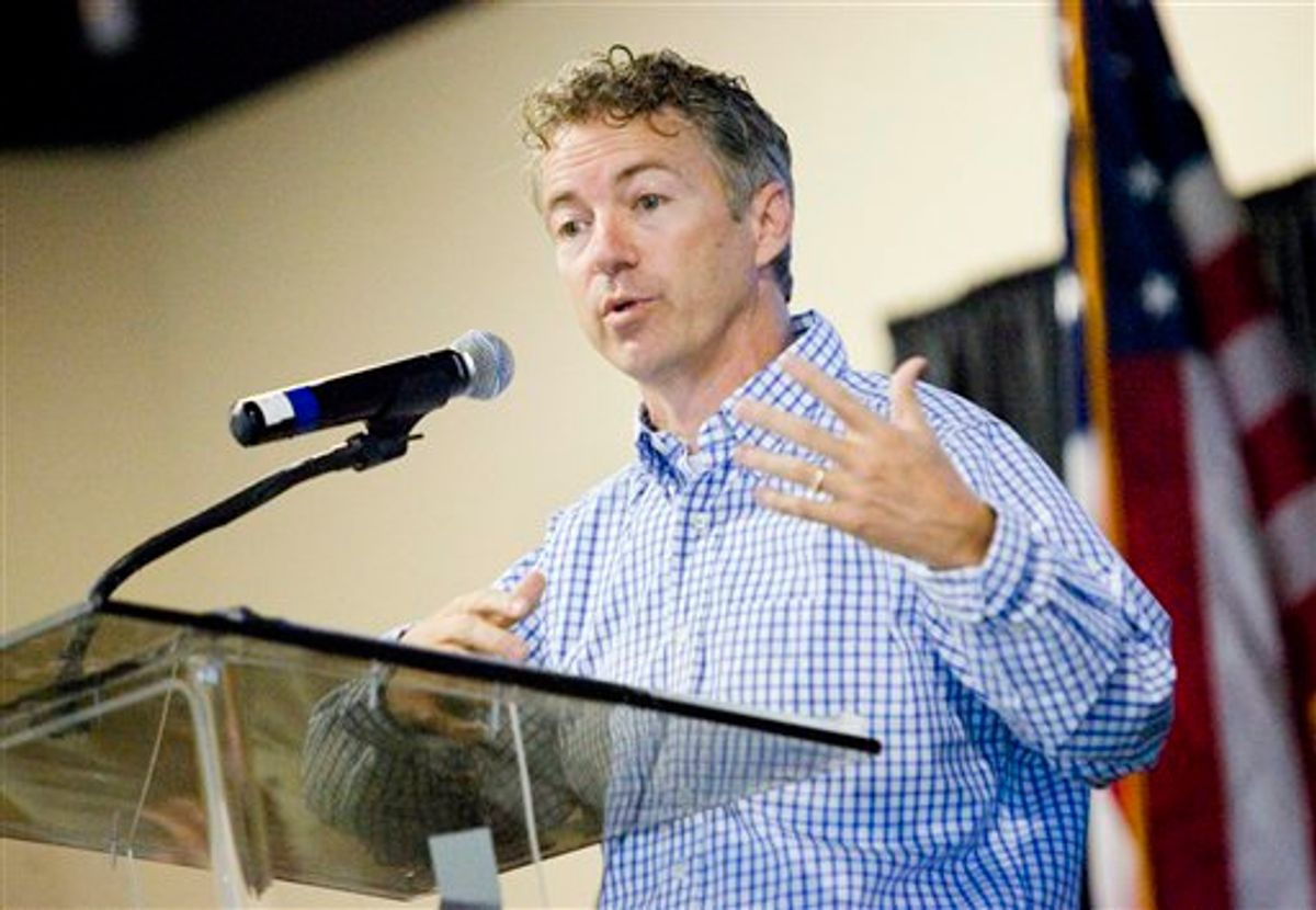 Republican candidate of U.S. Senate Dr. Rand Paul, R-Bowling Green, speaks at the Southern Kentucky Tea Party rally Sunday, Sept. 12, 2010 at the National Corvette Museum convention hall in Bowling Green, Ky. (AP Photo/Daily News, Alex Slitz) (AP)