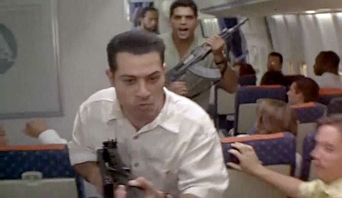 """A scene from 1996's """"Executive Decision,"""" in which Arab terrorists hijack a Washington-bound Boeing 747"""