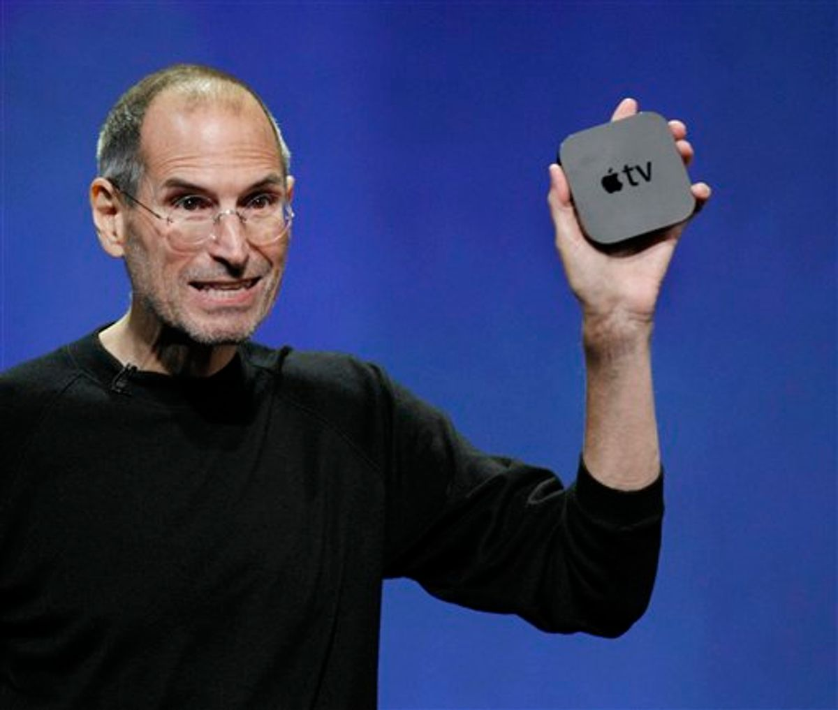 Apple CEO Steve Jobs displays the new AppleTV at news conference in San Francisco, Wednesday, Sept. 1, 2010. (AP Photo/Paul Sakuma)  (AP)